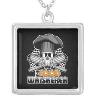 Chef Humor: Food Whiskerer v3 Silver Plated Necklace