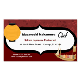 Chef Japanese Restaurant Double-Sided Standard Business Cards (Pack Of 100)