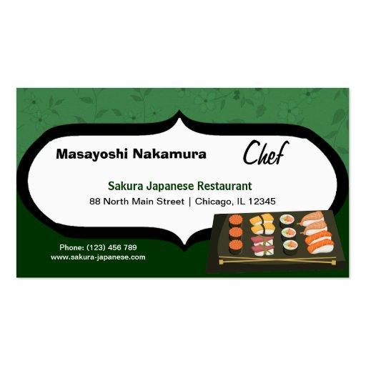 Chef japanese restaurant business card templates zazzle for Restaurant business cards samples