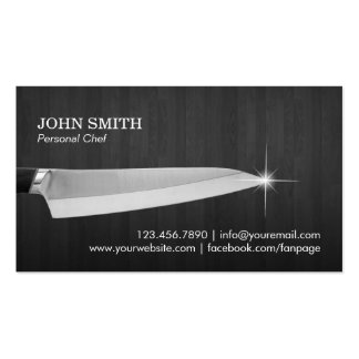 Chef Knife Catering Restaurant Elegan Dark Wood Business Card