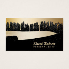 Chef Knife Catering Restaurant Modern Black & Gold Business Card at Zazzle
