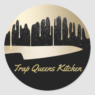 Chef Knife Catering Restaurant Modern Black & Gold Classic Round Sticker