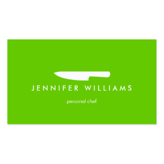 Chef Knife on Green for Catering, Restaurant Business Card