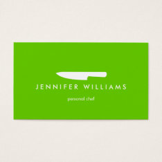 Chef Knife On Green For Catering, Restaurant Business Card at Zazzle