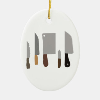 Chef Knives Double-Sided Oval Ceramic Christmas Ornament