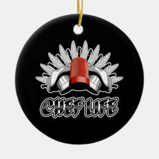 Chef Life: Chef Style Double-Sided Ceramic Round Christmas Ornament