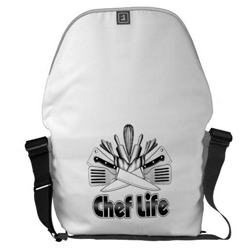 chef life kitchen utensils messenger bag zazzle. Black Bedroom Furniture Sets. Home Design Ideas