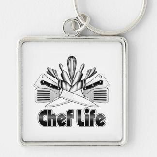 Chef Life: Kitchen Utensils Silver-Colored Square Keychain