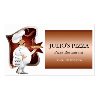 Chef Logo For Pizza Restaurants Double-Sided Standard Business Cards (Pack Of 100)