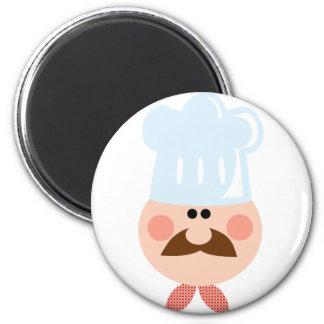 Chef Man Face Cartoon Logo Mascot Fridge Magnet