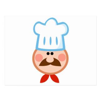 Chef Man Face Cartoon Logo Mascot Postcard