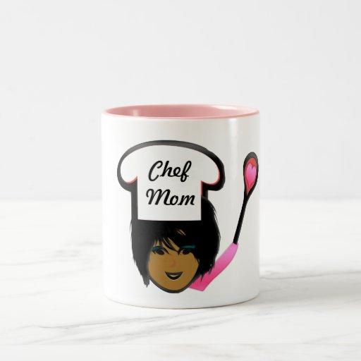 Pink and White Chef Mom Coffee Mug