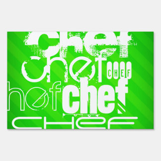 Chef; Neon Green Stripes Lawn Signs