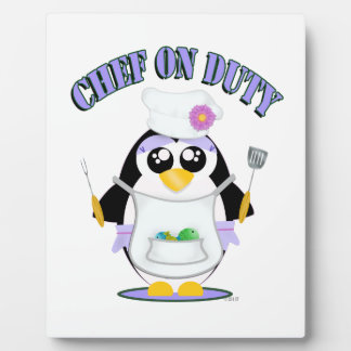 Chef on Duty Penguin Female Display Plaque
