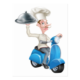 Chef on Scooter Moped Delivering Food Postcard