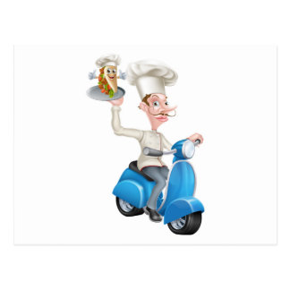 Chef on Scooter Moped Delivering Souvlaki Pita Keb Postcard