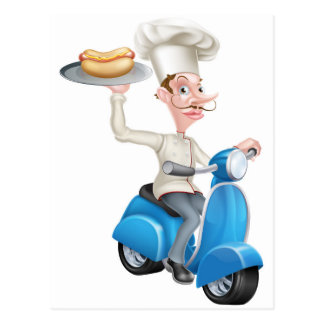 Chef on Scooter Moped Hot Dog Postcard