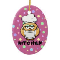 chef owl 2 ceramic ornament