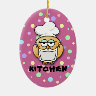 chef owl 2 Double-Sided oval ceramic christmas ornament