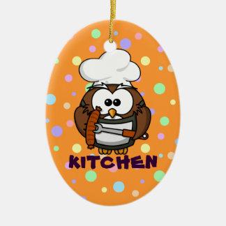 chef owl ceramic ornament
