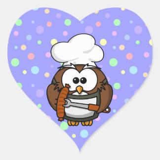 Chef owl heart sticker