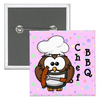 Chef owl pinback button