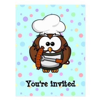 Chef owl postcard