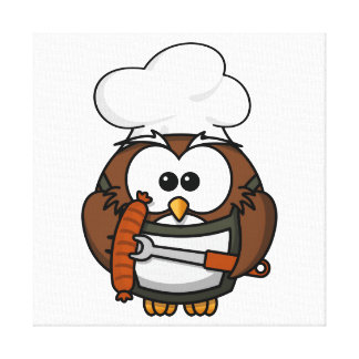 Chef Owl Ready To Barbeque Canvas Print