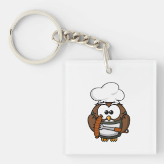 Chef Owl Ready To Barbeque Acrylic Keychain
