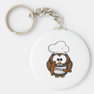 Chef Owl Ready To Barbeque Key Chain