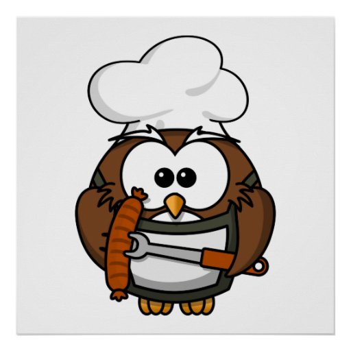 Chef Owl Ready To Barbeque Posters