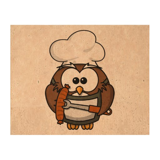 Chef Owl Ready To Barbeque Cork Paper Prints