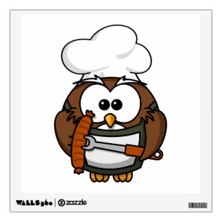 Chef Owl Ready To Barbeque Wall Decal