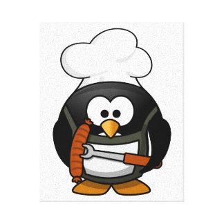 Chef Penguin Cartoon Canvas Print