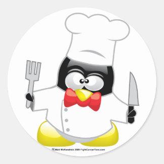 Chef Penguin Classic Round Sticker
