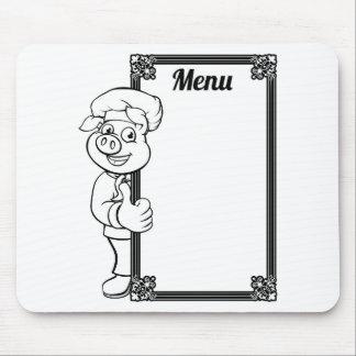 Chef Pig Cartoon Character Menu Mouse Pad