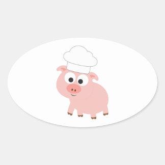 Chef Pig Oval Sticker