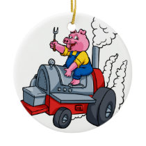 Chef Pig riding an BBQ barrel Ceramic Ornament