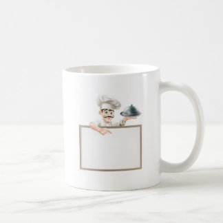 Chef pointing at sign coffee mugs