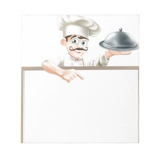 Chef pointing at sign scratch pads