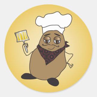 Chef Potato Stickers. Classic Round Sticker