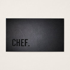 Chef Professional Dark Minimalist Business Card at Zazzle