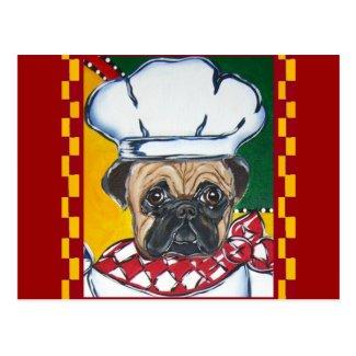 Chef Pug Postcard