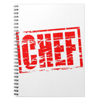 Chef red rubber stamp effect spiral note book