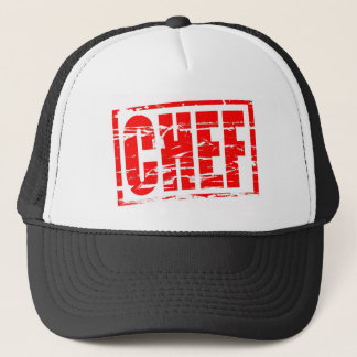 Chef red rubber stamp effect trucker hat