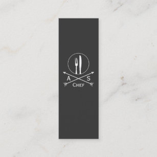Hip business cards zazzle chef retro arrows and cutlery hip black catering mini business card colourmoves