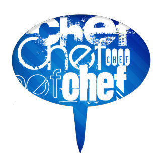 Chef; Royal Blue Stripes Cake Toppers