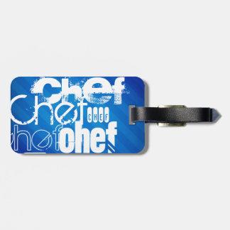 Chef; Royal Blue Stripes Luggage Tag
