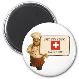 Chef Says Kiss The Cook 2 Inch Round Magnet