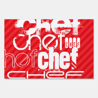 Chef; Scarlet Red Stripes Lawn Signs